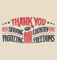 thank you veterans hand-lettering card vector image