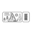 ticket with barcode and lodge vector image vector image