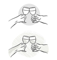 Toasting wine glasses vector image vector image