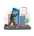 tourist male character traveling around city vector image vector image