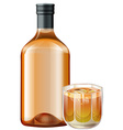 Whisky in glass and bottle vector image vector image