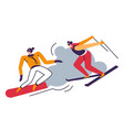 winter sport people skiing in mountains skiers vector image