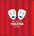 world theatre day logo icon design vector image vector image