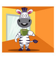 zebra with coffee on white background vector image vector image