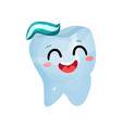 happy smiling giant tooth character dental care vector image