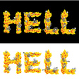 Hell text fire letters Skeletons in inferno vector image