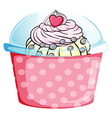 A cupcake in a pink container vector image vector image