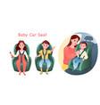 baby auto car seat set safe road transportation vector image vector image