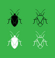 bug icon black and white color set vector image vector image