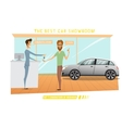 Businessman was buy expensive car in auto-salon vector image vector image