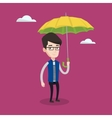 Businessman with umbrella vector image vector image