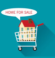 cart with cottage home for sale flat vector image vector image