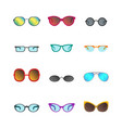 cartoon glasses and sunglasses color icons set vector image