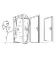cartoon of man or businessman kicking the locked vector image vector image