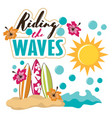 cartoon tropical beach surfboard vector image