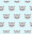cat pattern with cute cartoon cat faces seamless vector image vector image
