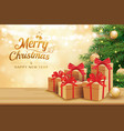 Christmas greeting card with gifts boxes on