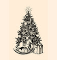 christmas tree gifts vector image vector image