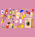cleaning icons set of home or room tools for vector image