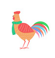 closeup of rooster with scarf vector image vector image