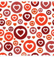 color red circle with hearts chaotic pattern vector image vector image