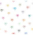 colorful doodle flowers on white seamless vector image vector image