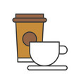 cup of coffee and take away coffee food and vector image