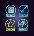 disco neon emblems vector image