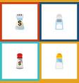 flat icon salt set of saltshaker sodium shaker vector image