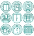 Flat line icons for door vector image vector image