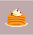 fresh tasty pancakes with whipped cream and vector image vector image