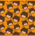 grizzly bear heads pattern background vector image vector image