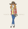 Hand drawn of fashion doggy girl vector image vector image