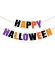 happy halloween bunting flags isolated white vector image