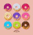 icon donuts bakery cafe beautiful chocolate cream vector image vector image