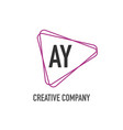 initial letter ay triangle design logo concept vector image vector image