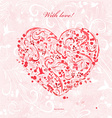 invitation card with a red foliage heart for your vector image vector image