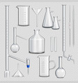 laboratory glassware transparent set vector image vector image