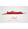 Leeds skyline in red vector image vector image