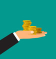 male hand holds coins vector image