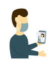 man receiving medical online consultation using vector image