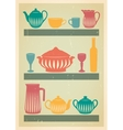 mid century dishes set vector image