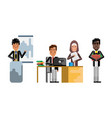 multiethnic business teamwork in office vector image vector image