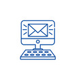 new message line icon concept new message flat vector image vector image