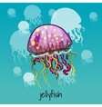 One spotted jellyfish on a celadon background vector image vector image
