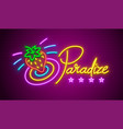 paradise neon sign vector image vector image