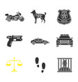police glyph icons set vector image vector image