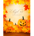 Pumpkin background with leaves Halloween vector image vector image