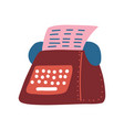 retro typewriter and pink blank paper sheet vector image