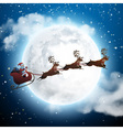 Santa Claus Flying on a Sleigh with Deer at Night vector image